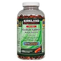 Kirkland Signature 100% Wild Alaskan Salmon Oil 90 EPA 110 DHA 1200mg - 320 Enteric Coated Softgels