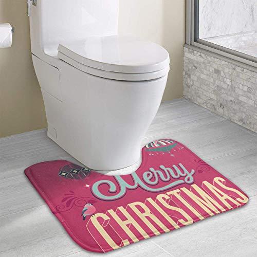 Dealbert Merry Christmas Lamps Contour Bath Rugs,U-Shaped Bath Mats,Soft Memory Foam Bathroom Carpet,Nonslip Toilet Floor Mat 19.2″x15.7″