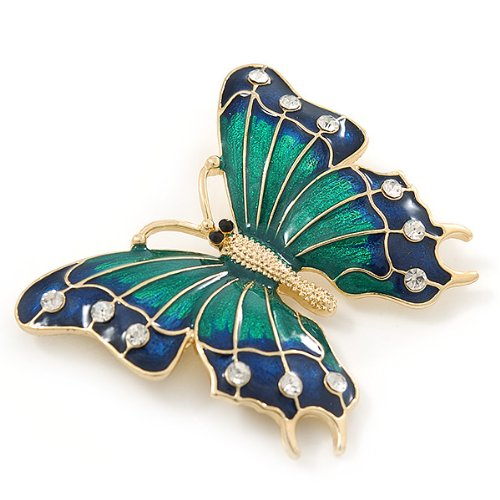 Crystal Butterfly Brooch in Gold Tone 55mm L Avalaya Green//Dark Blue Enamel