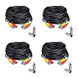 (4) 25ft Pre-Made All-in-One Siamese BNC Video and Power Cable Wire Cord with BNC to RCA Connectors for CCTV Security Camera & DVR (4 Pack, 25 Feet, Black)