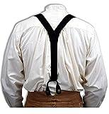 Historical Emporium Men's Canvas Y-Back Button End Braces with Elastic Tail Black