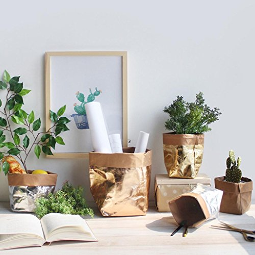 Washable Kraft Paper Bag,Iusun Multifunction Reuse Bag Home Office Plant Flowers Pots Storage Bag (Rose Gold, 4.7x4.7x9.0 inch) (Rose Lager)