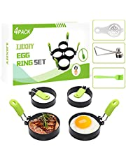 Stainless Steel Egg Rings, 4 Pack Egg Mold for Frying, Egg Ring Set with Silicone Anti-Scalding Handle, An Egg Cracker Topper, An Egg Separator and An Oil Brush