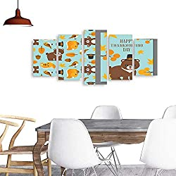 UHOO 5 Piece Wall Art Painting Printthanksgiving Wild Animal Seamless Pattern and Greeting Card Template in Flat Design. odern Decoration Living Room