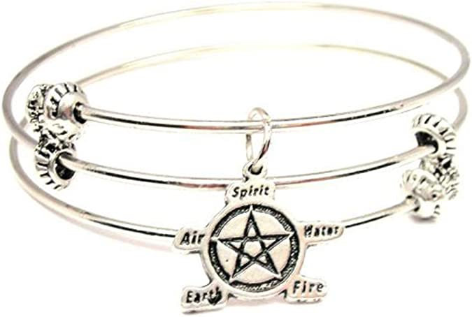 Set of 2 Bracelets 2.5 ChubbyChicoCharms Cross with Wings Expandable Wire Bangles