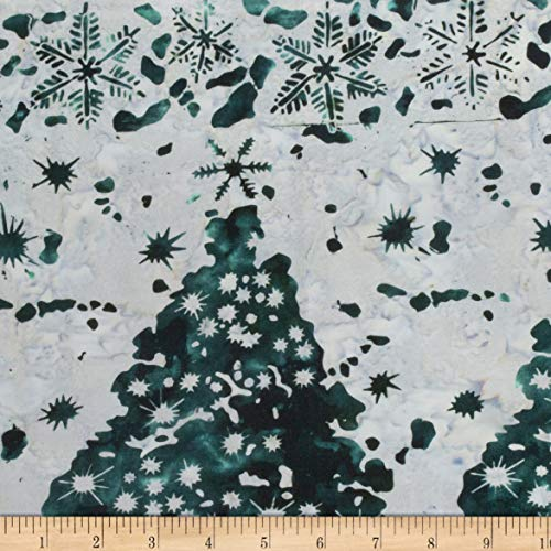 Northcott Winter Light Iced Kissed Teal Fabric by The Yard (Christmas Tree Batik)
