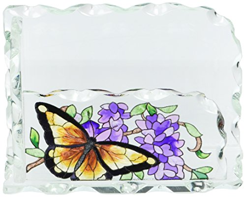 Joan Baker Designs Wings and Wisteria Art Glass Business Card Holder