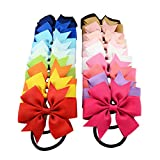 inSowni 20pcs 3'' Bow Elastic Hair Bands Ties Ropes Ponytail Holder for Baby Girls Toddlers Kids (20PCS S1)