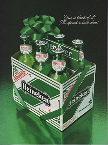 - Magazine Print Ad: 1983 Heineken Beer 6 pack, Come to think of it, I'll Spread a Little Cheer'