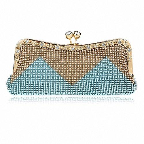 - Afibi Women Handbags Rhinestone Evening Bags Crystal Party Clutches Bag (Blue)