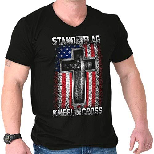Stand Flag Kneel Cross Christian American V-Neck T Shirt ()