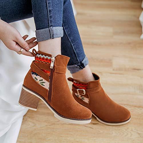 HBDLH Damenschuhe Niedrige Stiefeln Antike Schrubben Lässig Kurze Stiefel Stiefel Stiefel Tiefe Mund Größe Frauen-Stiefel. 2cafa5