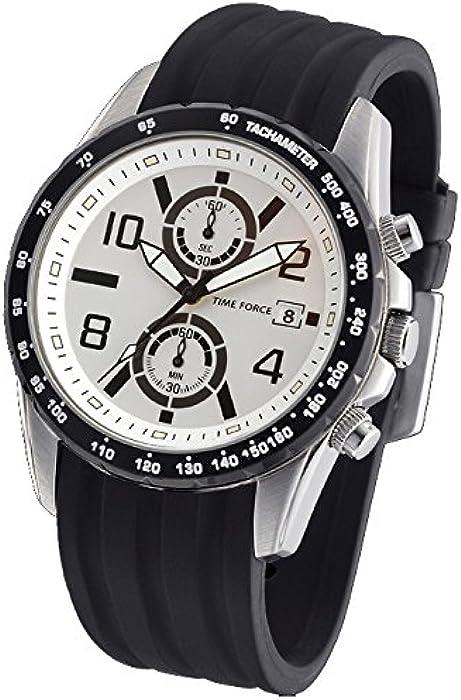 Reloj TIME FORCE de caballero. Crono Calendario. Acero. Correa de caucho. TF-3244M02