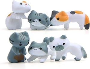 BESPORTBLE 6pcs Mini Cats Miniature Micro Cute Garden Miniatures Craft Fairy Decor for Garden Home Micro Landscape DIY Succulent Bonsai