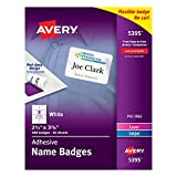 Avery White Adhesive Name Badges , 2-1/3'' x 3-3/8'', 400 Name Badges per Pack, Case Pack of 5 (5395)