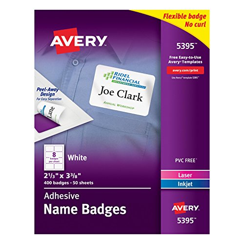 "Avery White Adhesive Name Badges , 2-1/3"" x 3-3/8"", Case Pack of 5 (5395)"