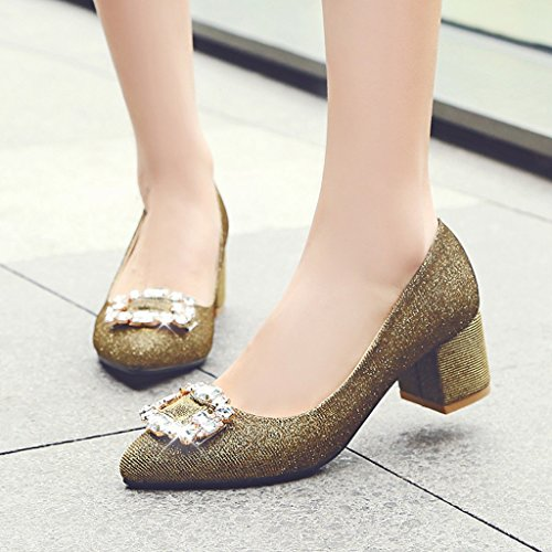 Pointue Brillant Chaussures Or Tête hauts Épais À Bouche Paillettes Talon Profonde Diamant Mi Hauts Escarpins Peu Talons AIqxpEn7aw