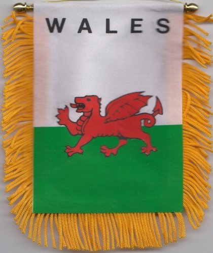 Wales Welsh Dragon Car Flag Hanging Window Pennant - Welsh Outdoor Hanging