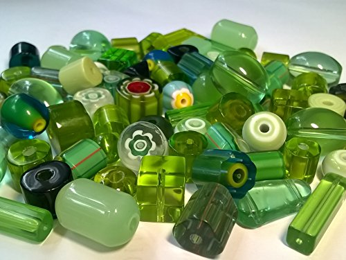 Jctjewelry Crystal Glass Drilled Beads, 1/4 LB about 70 Pcs, Assorted Greens Collection & Shape Style, Patrick's Day, by JCT -
