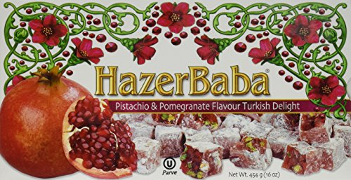 Hazer Baba Pistachio & Pomegranate Turkish Delight, (Kosher Pistachios)