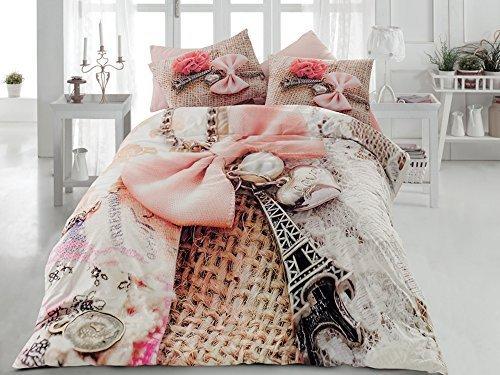TAC Ranforce 100% Turkish Cotton 6 Pcs!! Paris Eiffel Tower Theme Themed Perfect Design Full Queen Size Quilt Duvet Cover Set Bedding Linens (Paris Comforter)