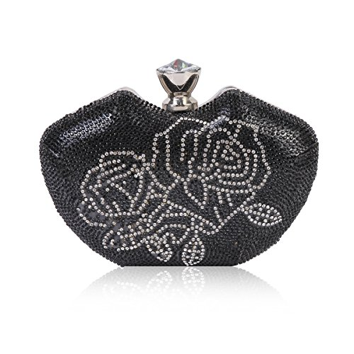 Black Two Damara tone Clutch Evening Bag Crystal Hardcase Front Womens PnzZ7vx