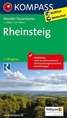 Rheinsteig: Wander-Tourenkarte. GPS-genau. 1:50000 (KOMPASS-Wander-Tourenkarten, Band 2503)