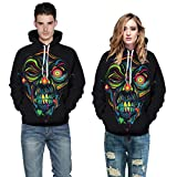 Women Men Top Autumn Winter Fashion Casual Ladies Halloween Ghost 3D Printing Long Sleeve Hoodie Sweatshirt Pullover Blouse