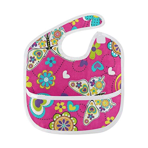 - Baby Bibs Bright Floral Print Butterfly Large Drool Bibs for Girls Toddler Bib/Smock