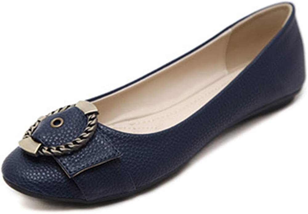 Single Shoes Metal Buckle Round Head Comfortable Large Size Flat Shoes