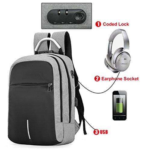 Lade Rucksack - Neue Anti-Diebstahl-Pack Reiserucksack Wasserdichte Nylon USB Computer Bag Lade Rucksack