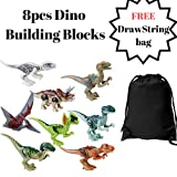 MadeinUSA Dino Toys 8pcs | Mini Dinosaur figures | ABS Building blocks | FREE Drawstring storage bag included
