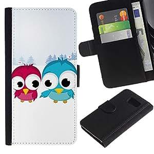KLONGSHOP / Tirón de la caja Cartera de cuero con ranuras para tarjetas - Funny Cute Bird Friends - Samsung Galaxy S6 SM-G920