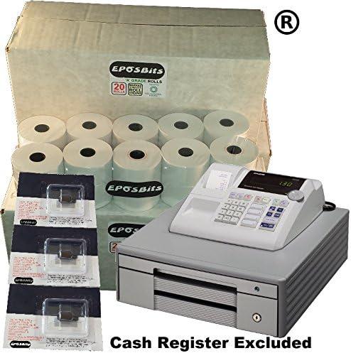 eposbits marca® 60 rollos + 3 x de tinta para Casio grande Draw 130 CR 130 CR caja registradora: Amazon.es: Oficina y papelería