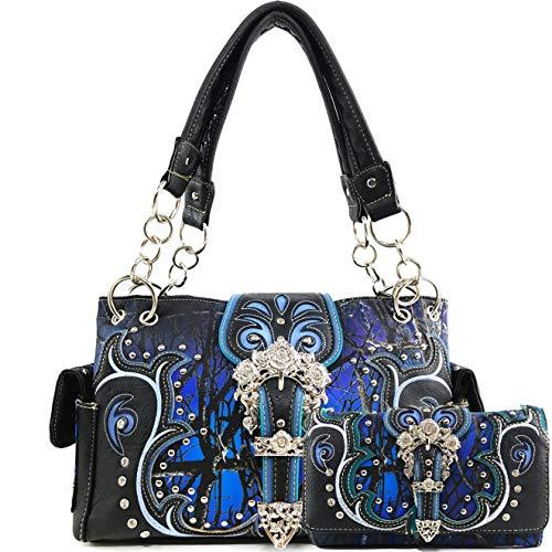 Zelris Camo Shine Glow Rose Buckle Women Conceal Carry Handbag with Wallet Set (Blue)