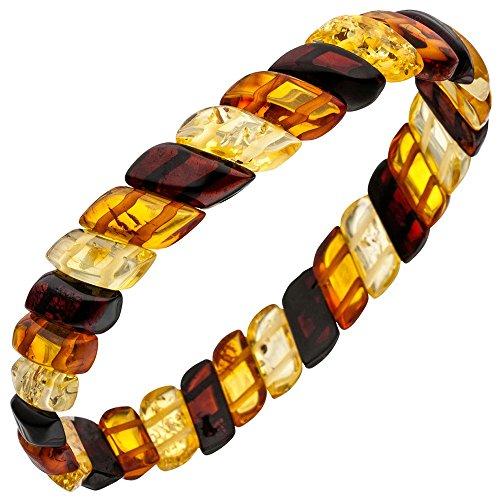 Bijou Bracelet de bracelet en Ambre Véritable, Multicolore Marron Jaune