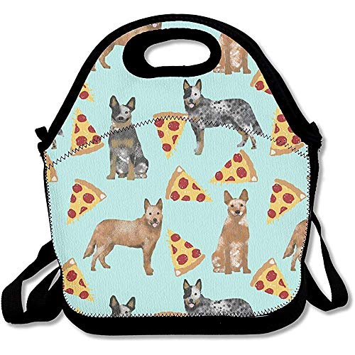 HOOAL Australian Cattle Dog Blue and Red Heelers and Pizzas Neoprene Insulated Cooler Warmer Lunch Bag Tote Bag Lunch Organizer Lunch Box Fit For Women Men amp Kids