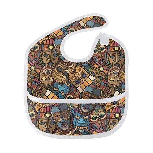 AHOMY African Craft Voodoo Tribal Mask Waterproof Baby Bibs Washable Stain Odor Resistant Saliva, Soft, Unisex -