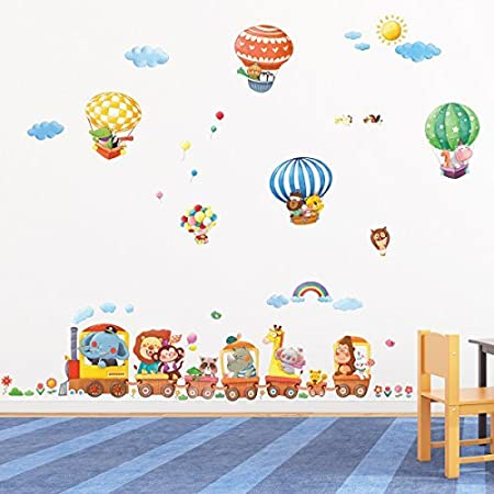 Decowall da 1406 animal train and hot air balloons kids wall stickers wall decals peel