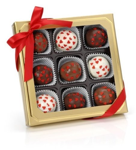 (Romantic Hearts Belgian Truffle Cake Bons- Gold Gift Box of 9 (Vanilla) by Lady Fortunes)
