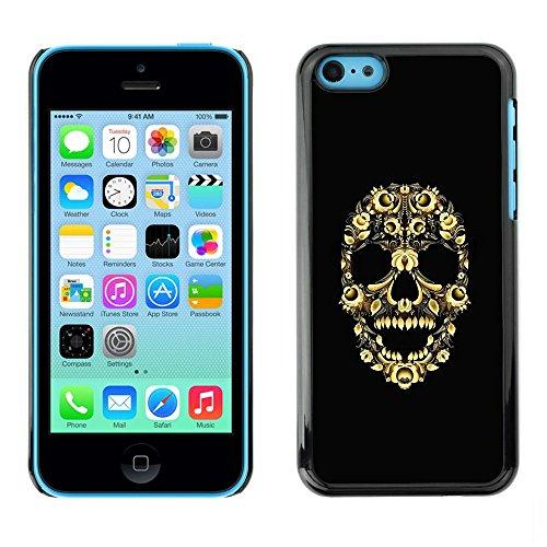 TopCaseStore / caoutchouc Hard Case Housse de protection la Peau - Skull Bling Floral Flowers Yellow Skeleton - Apple iPhone 5C