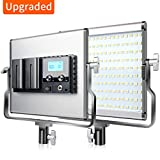FOSITAN Bi-Color 16500 Lux LED Video Light CRI 96+ 200 SMD LED Light for Studio Photography Shooting (U Bracket, LCD Display - Single Light)