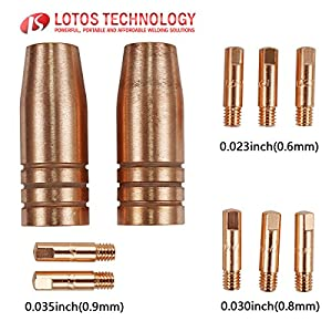 Lotos MCS10 MIG TORCH CONSUMABLES 10PC NOZZLES AND CONTACT TIPS FOR Lotos MIG175 AND Lotos MIG140 Welder by Lotos Technology