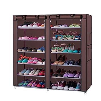 Estante de zapatos portátil de doble fila, 12 rejillas, armario de almacenamiento con funda a prueba de polvo organizador de armario café: Amazon.es: Hogar