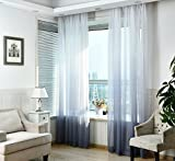 WPKIRA Home Fashion Romatic Rod Pocket Top Dreamlike Gradient Color Tulle Window Treatments Voile Sheer Perspective Window Curtains Drapes For Living Room 1 Panel W114 x L96 inch