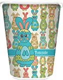 RNK Shops Fun Easter Bunnies Waste Basket - Double Sided (White) (Personalized)