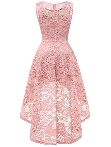 Sleeveless Cocktail AONOUR Swing Lace Floral Lo Dress Women's Party Hi Bridesmaid Dress Blush Vintage zrYpwz
