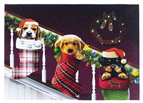 Puppy Dog Hanging Stockings Winter LED Art