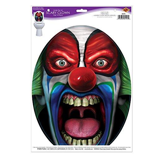 Beistle Club Pack Halloween Prank Scary Clown Toilet Seat Peel N Place, Box of 12