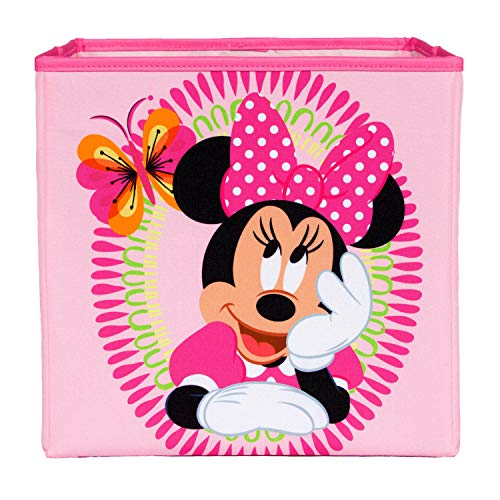 Minnie Mouse Pink Collapsible Storage Bin by Disney - Cube Organizer for Closet, Kids Bedroom Box, Nursery Chest - Foldable Home Decor Basket Container with Strong Handles and Design